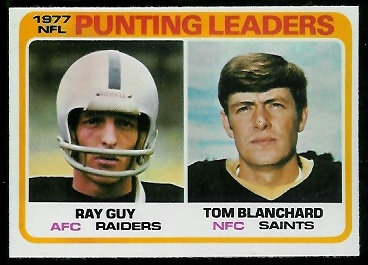 Punting Leaders 1978 Topps football card