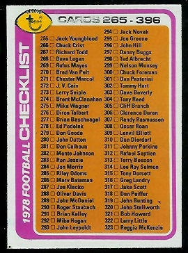 Checklist 265-396 1978 Topps football card