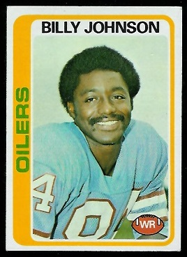 Billy Johnson 1978 Topps football card