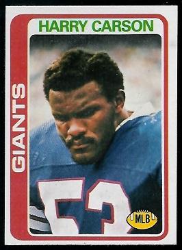 Harry Carson 1978 Topps football card