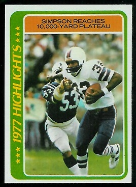 Simpson Reaches 10,000-Yard Plateau 1978 Topps football card