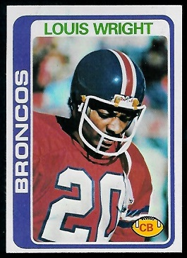Louis Wright 1978 Topps football card