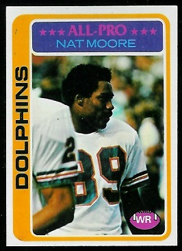 Nat Moore 1978 Topps football card