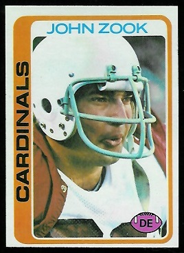 John Zook 1978 Topps football card