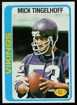 Mick Tingelhoff 1978 Topps football card