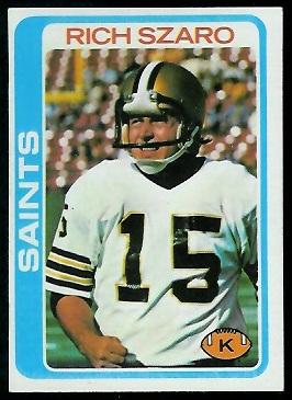 Rich Szaro 1978 Topps football card