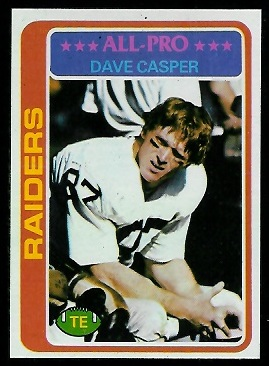 Dave Casper 1978 Topps football card