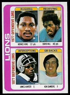 Lions Leaders 1978 Topps football card