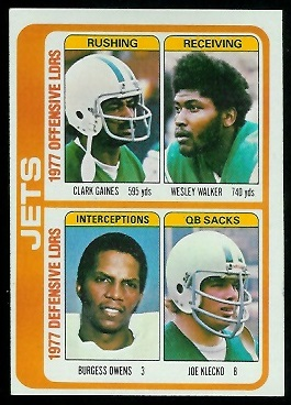 Jets Leaders 1978 Topps football card