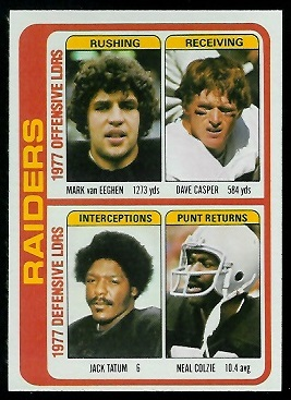Raiders Leaders 1978 Topps football card
