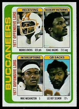 Buccaneers Leaders 1978 Topps football card