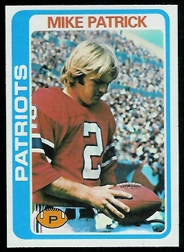 Mike Patrick 1978 Topps football card