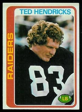 Ted Hendricks 1978 Topps football card