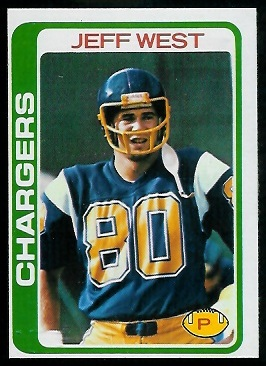 Jeff West 1978 Topps football card