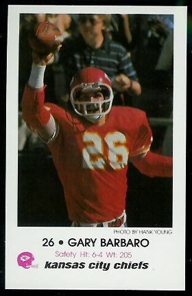 Gary Barbaro 1979 Chiefs Police football card