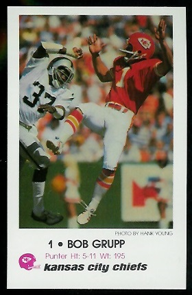 Bob Grupp 1979 Chiefs Police football card
