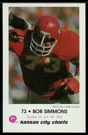 Bob Simmons 1979 Chiefs Police football card