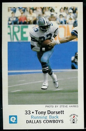 Tony Dorsett 1979 Cowboys Police football card
