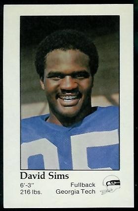 David Sims 1979 Seahawks Police football card