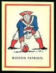 1960 Fleer AFL Decal of Pat Patriot