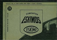 back of 1964 Topps CFL Edmonton Eskimos football card