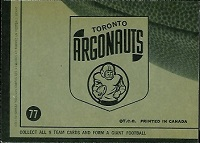 back of 1964 Topps CFL Toronto Argonauts football card