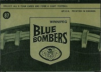 back of 1964 Topps CFL Winnipeg Blue Bombers football card