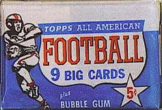 1955 Topps All-American 5 cent football card wrapper