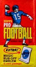 1965 Topps football card wrapper