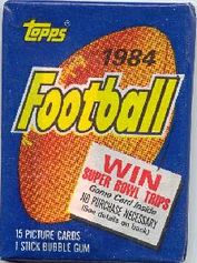 1984 Topps football card wrapper